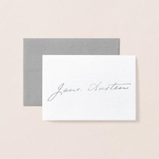 Cartão Metalizado Assinatura de Jane Austen - prata