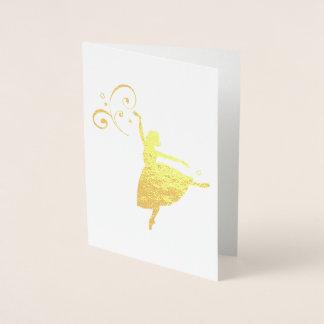 Cartão Metalizado Bailarina bonito com detalhe do redemoinho