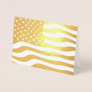 Cartão Metalizado Bandeira americana EUA do ouro