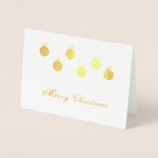 Cartão Metalizado Baubles do ouro do Feliz Natal