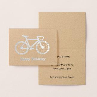 Cartão Metalizado Bicicleta metálica - tema do ciclismo da prata ou