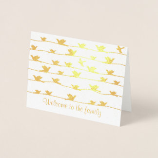 Cartão Metalizado Boa vinda à família, rebanho dos pássaros em fios