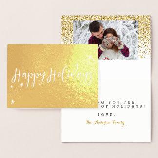 Cartão Metalizado Boas festas design clássico da tipografia