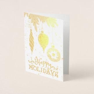 Cartão Metalizado Boas festas enfeites de natal decorativos