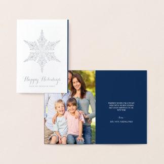 Cartão Metalizado Boas festas floco de neve elegante da folha de