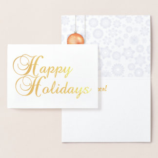 Cartão Metalizado Boas festas folha de ouro
