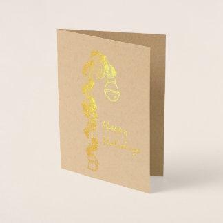 Cartão Metalizado Boas festas Lamppost da festão NYC do Natal