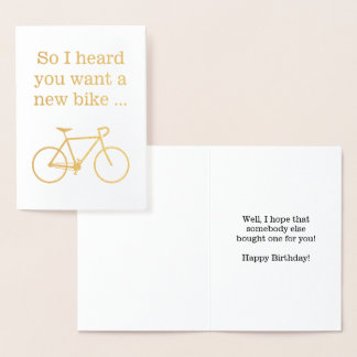"""Cartão Metalizado Bobo """"assim eu ouvi-o querer uma bicicleta nova… """""""