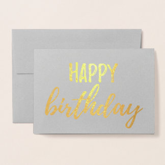 Cartão Metalizado Brushstroke da escova das cinzas da folha de ouro