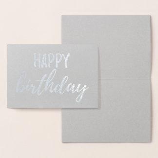 Cartão Metalizado Brushstroke da escova das cinzas da folha de prata