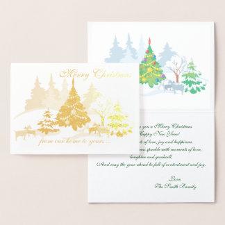 Cartão Metalizado Cabras reais do Natal da folha no inverno