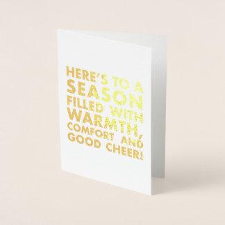 Cartão Metalizado Calor, conforto e bom elogio