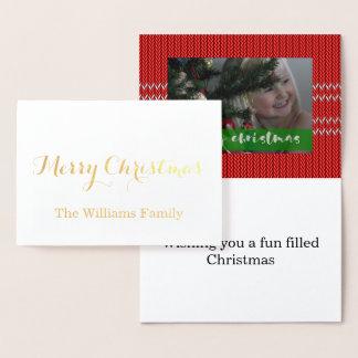 Cartão Metalizado Camisola do vermelho do Feliz Natal