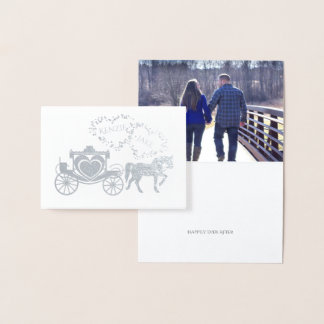 Cartão Metalizado Carruagem do conto de fadas feliz nunca após o