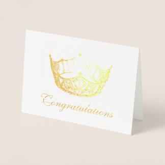 Cartão Metalizado Cartão-Congrats da coroa da folha de ouro do