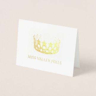 Cartão Metalizado Cartão-Manutenção programada da nota da coroa da