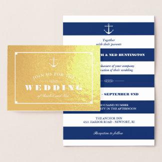 Cartão Metalizado Casamento náutico da folha de ouro & das listras