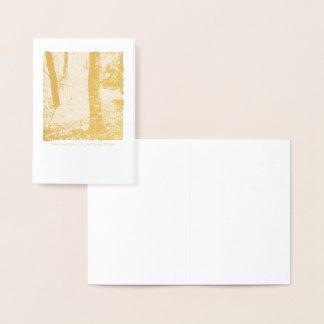 Cartão Metalizado Cena da floresta na folha de ouro--Notecard vazio