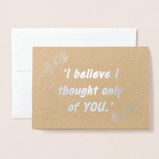 Cartão Metalizado Citações românticas do orgulho e do preconceito