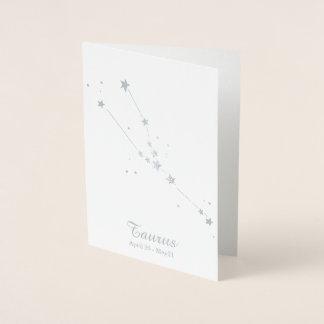 Cartão Metalizado Constelação do sinal do zodíaco do TAURUS da folha