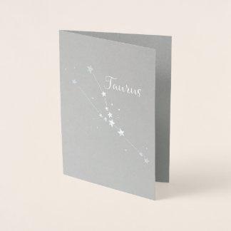 Cartão Metalizado Constelação do zodíaco do Taurus da folha de prata