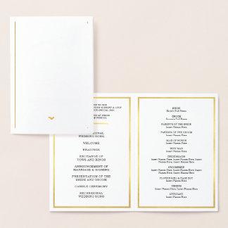 Cartão Metalizado Coração à moda simples do PROGRAMA da CERIMÓNIA de