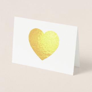 Cartão Metalizado Coração da folha de ouro