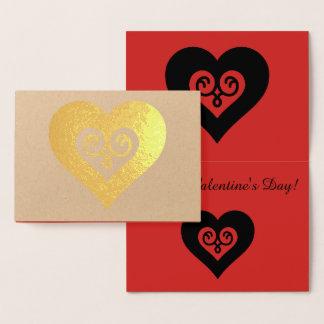 Cartão Metalizado Coração dos namorados do ouro