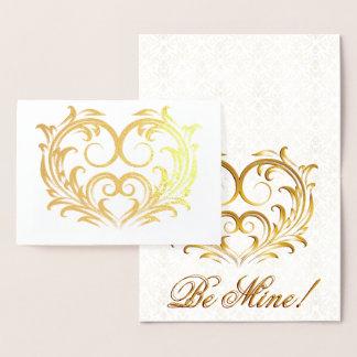 Cartão Metalizado Coração filigrana da folha de ouro - seja meu!