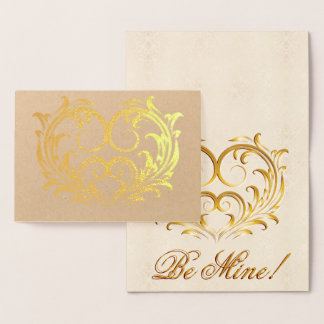 Cartão Metalizado Coração filigrana da folha de ouro - seja meu! #2