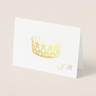 Cartão Metalizado Coroa da folha de ouro do estilo da senhorita EUA