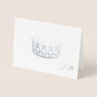 Cartão Metalizado Coroa da folha de prata do estilo da senhorita EUA