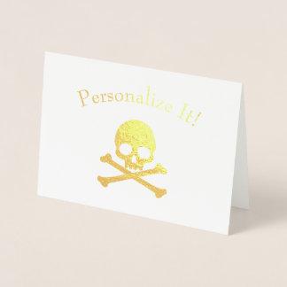 Cartão Metalizado Crânio personalizado e Crossbones de folha de ouro