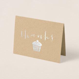 Cartão Metalizado Cupcake dos obrigados