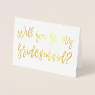 Cartão Metalizado Dama de honra do casamento da folha de ouro