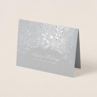 Cartão Metalizado Desejos de prata e cinzentos da família dos