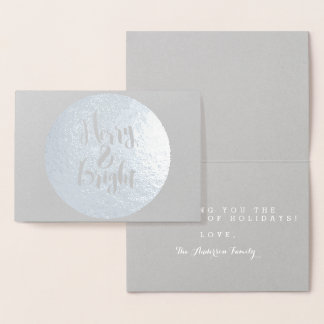 Cartão Metalizado Design alegre & brilhante da tipografia do feriado