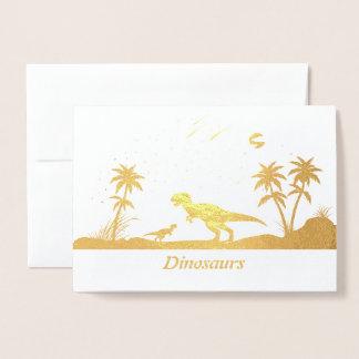 Cartão Metalizado Dinossauro sob as estrelas