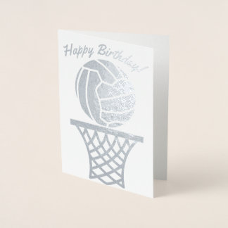Cartão Metalizado Do design temático da bola do Netball feliz