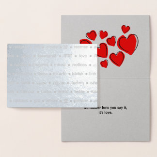 """Cartão Metalizado """"É texto feito sob encomenda multilíngue do amor"""""""