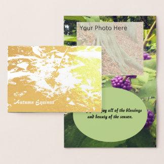 Cartão Metalizado Equinócio bonito Mabon do outono da baga da beleza