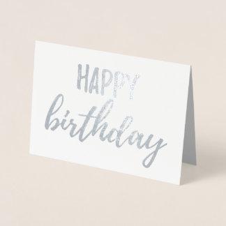 Cartão Metalizado Escova da folha de prata de feliz aniversario