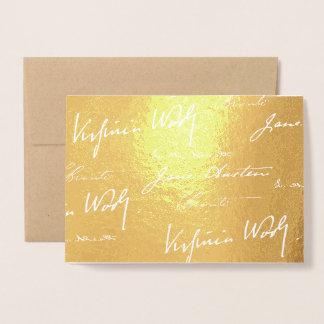 Cartão Metalizado Escritores das mulheres - ouro