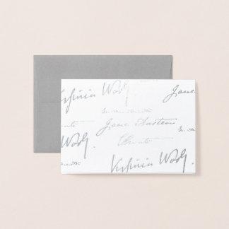 Cartão Metalizado Escritores das mulheres - prata