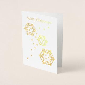 Cartão Metalizado Estrelas do floco de neve do Feliz Natal