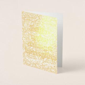 Cartão Metalizado Eu enfrentarei meus medos - Quote´s positivo