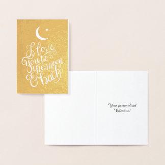 Cartão Metalizado Eu te amo à lua e ao ouro traseiro
