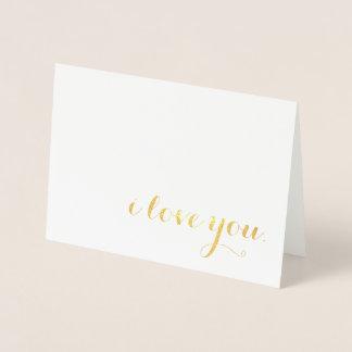 Cartão Metalizado eu te amo folha de ouro