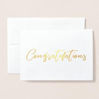 Cartão Metalizado Felicitações chiques bonitas da caligrafia
