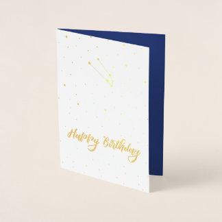 Cartão Metalizado Feliz aniversario da constelação dourada do Taurus